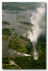 Aerial view of the Victoria Falls in green season