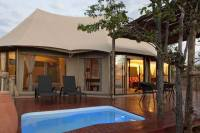 Plunge pool on a private deck at Elephant Camp - luxury Victoria Falls accommodation