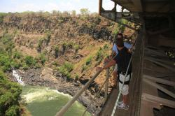 Victoria Falls Bridge and Zambezi below