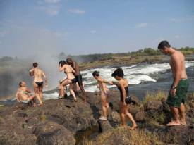 The trek across Livingstone Island to get to Devils Pool Victoria Falls