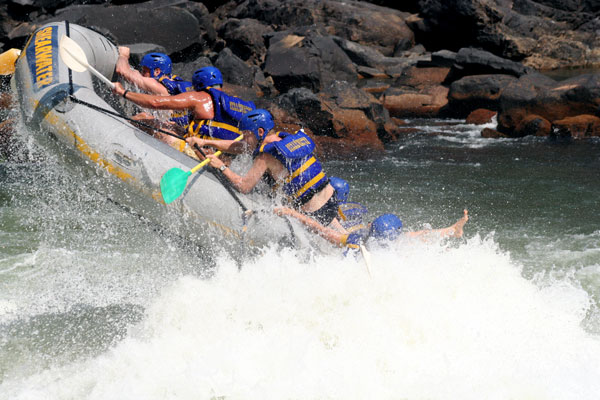 Rafting the Zambezi River downstream from the Victoria Falls