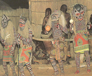 Tradtional African Dancers wearing masks