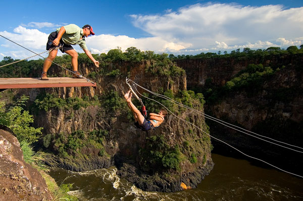 Gorge swing at the lookout in Victoria Falls, Zimbabwe
