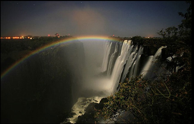 Lunar rainbow from the spray of the Victoria Falls