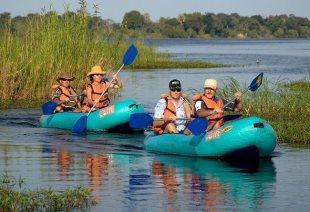 Canoe trip on the Upper Zambezi River near Victoria Falls, Zimbabwe