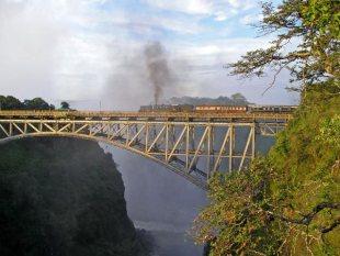 Steam train on the Victoria Falls Bridge from Livingstone, Zambia