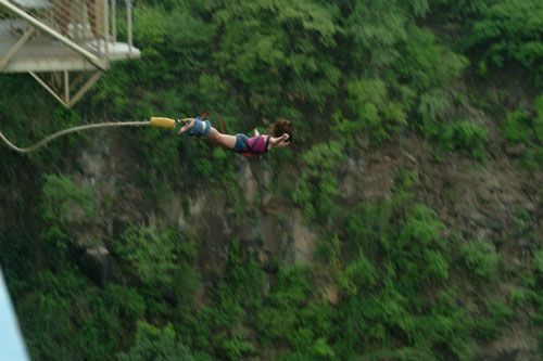 Bungee jumping off the Victoria Falls Bridge between Zimbabwe and Zambia