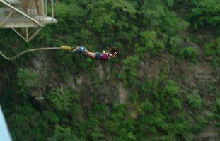 Bungee jumping off the Victoria Falls Bridge between Zimbabwe and Zambia