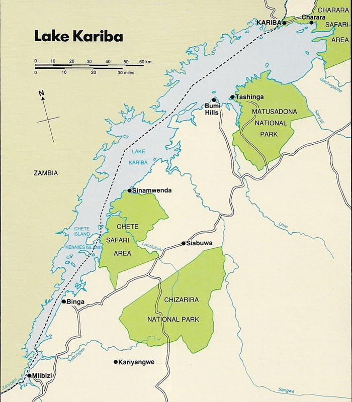 Map of Lake Kariba and the safari areas on the Zimbabwe side of the lake.