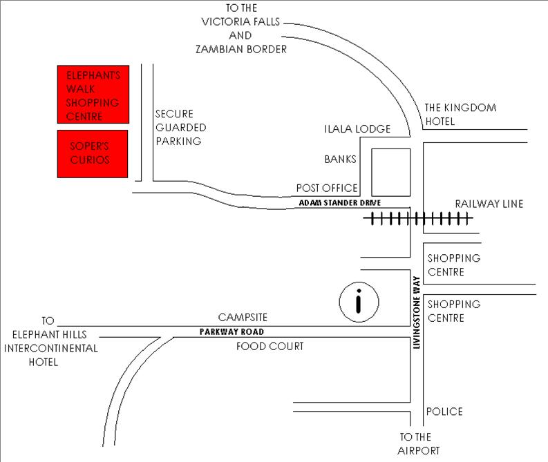 Victoria Falls shopping map