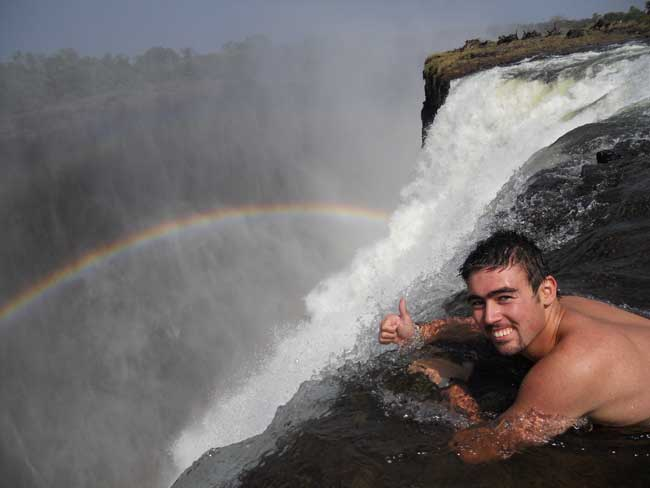 Swim at the edge of the Victoria Falls