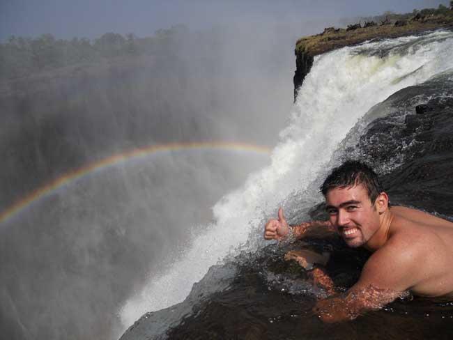 Swim at the edge of the Victoria Falls
