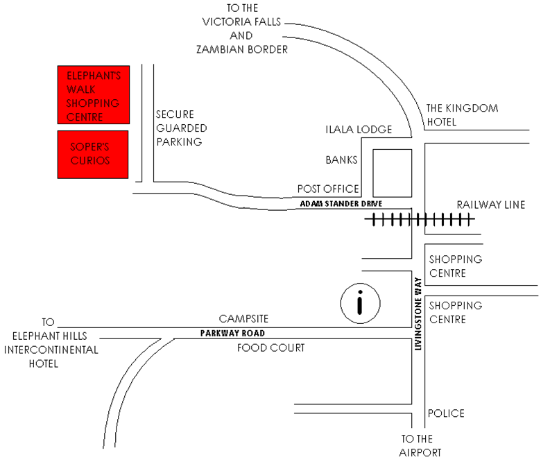 Victoria Falls shopping map