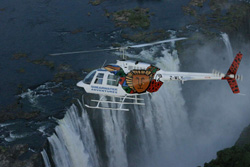 Helicopter flying over the Victoria Falls