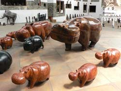 Wooden Hippo carvings