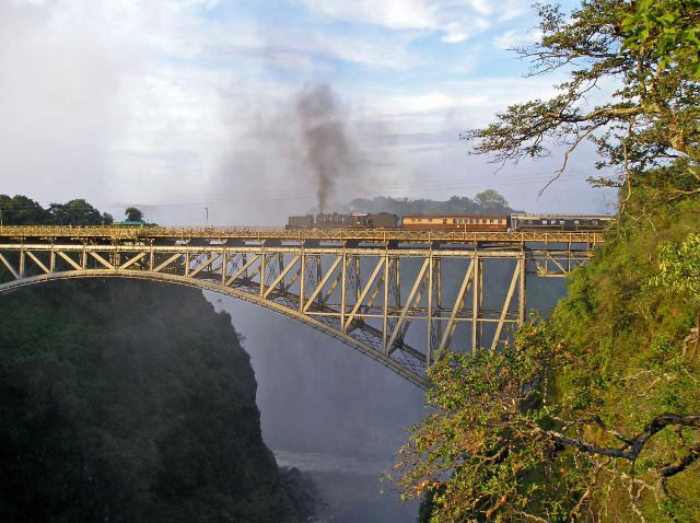 Steam train stopping on the Victoria Falls Bridge