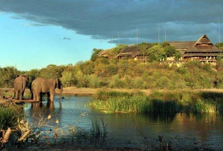 Elephants in front of Victoria Falls Safari Lodge