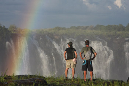 Victoria falls waterfall and rainbow