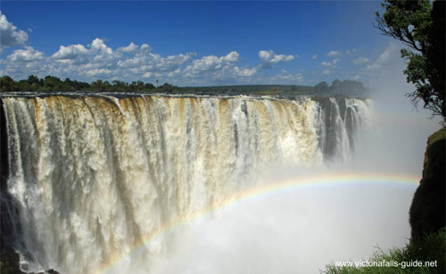 The mighty thundering Victoria Falls during high water