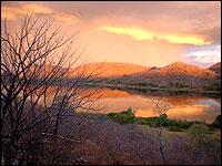 View of the Zambezi sunset from Zambia Wilderness Ranch