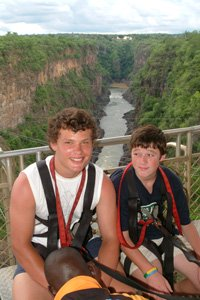 Two young men braving the Victoria Falls bungee