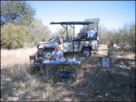 Lunch break during a game drive in Zambezi National Park - Victoria Falls