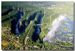 Aerial view of the Zambezi River zig zagging gorges
