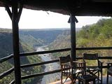 View of the gorges from the restaurant at Gorges Lodge - out of town Victoria Falls Accommodation