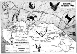 Map of Hwange National Park