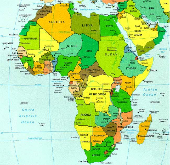 Map of Africa - Zimbabwe is in southern Africa