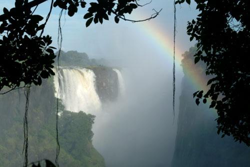 Victoria falls waterfall and rainbow