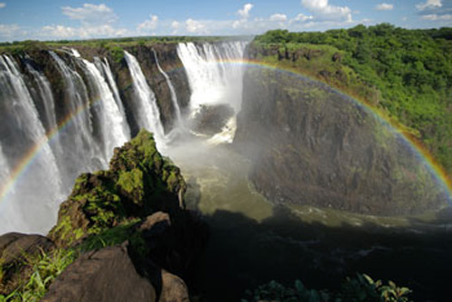 Another rainbow at the eastern end of the Victoria Falls on the Zimbabwe side