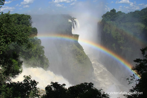 Rainbow at the Victoria Falls from the western end of the waterfall from the Zimbabwe side