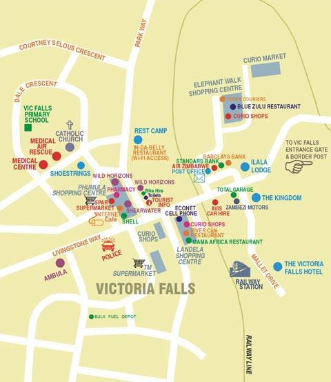 Map of Victoria Falls town centre