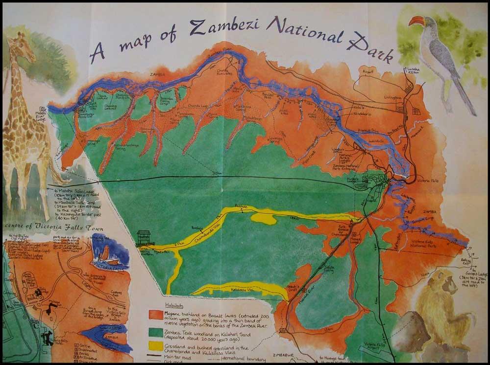Zambezi national park map