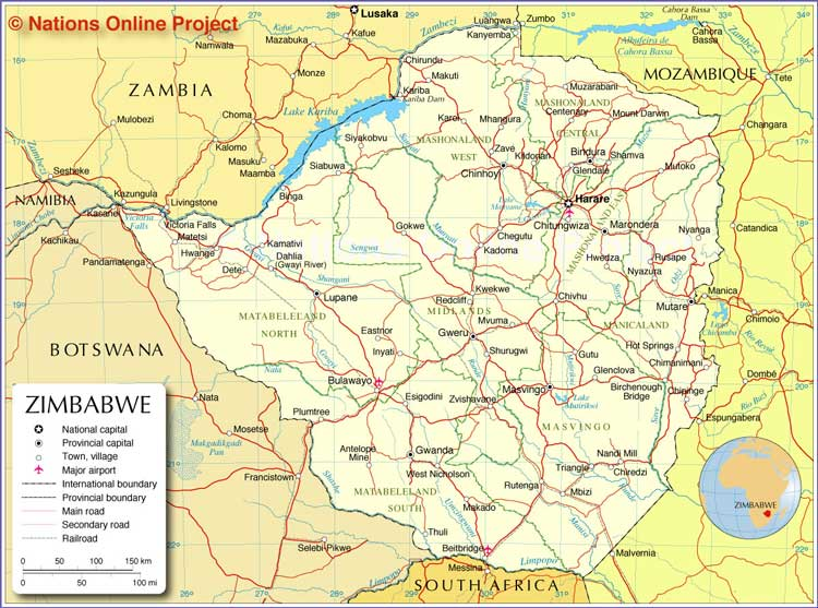 Map Of Africa Zimbabwe.Map Of Zimbabwe