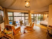Inside a luxurious room at Old Drift Lodge - Victoria Falls