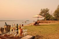 Guests set up on the Zambezi shorelone at Zambezi Life Styles - Mana Pools, Zimbabwe