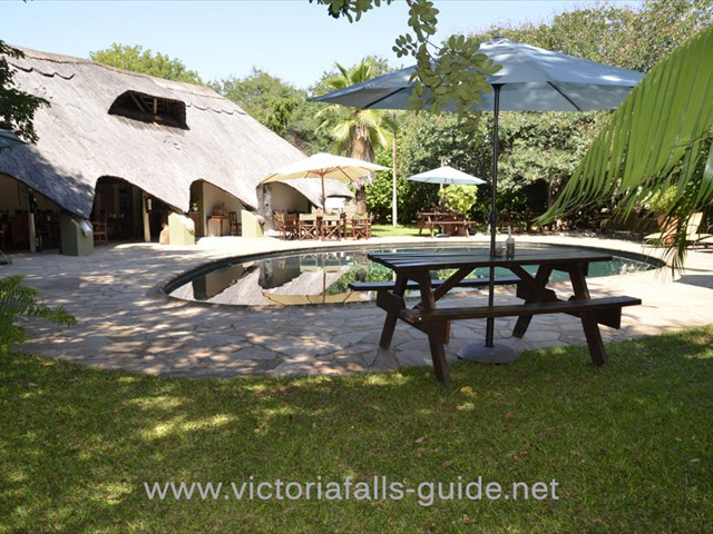 The pool area at Bayete Guest Lodge in Victoria Falls in Zimbabwe