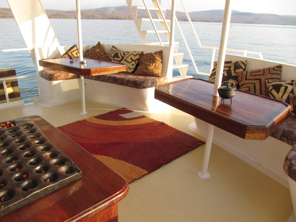 Aboard the Lady Jacqueline houseboat which is in Kariba