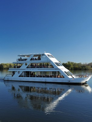 Sunset cruise on the Lady Livingstone packaged with a helicopter flight over the Victoria Falls