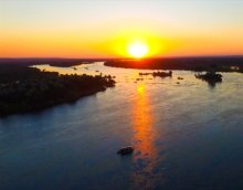 Boat cruise on the upper Zambezi River near Victoria Falls, Zimbabwe