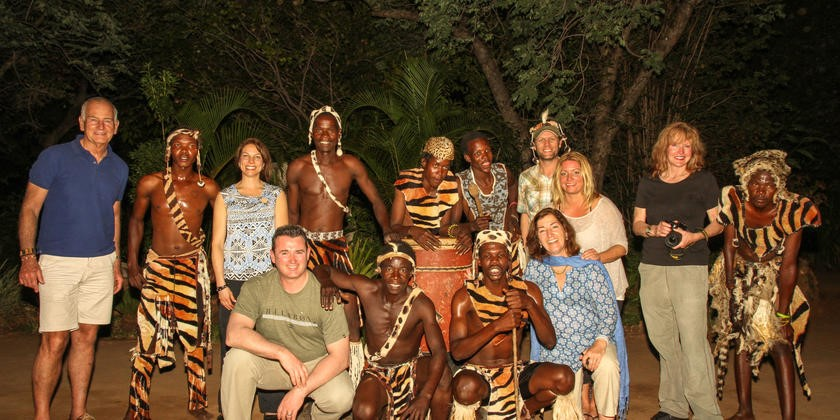 Traditional dancers with guestes at Gorges Lodge - Victoria Falls, Zimbabwe