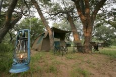 Campsite set up for overnight safari in Chobe National Park, Botswana