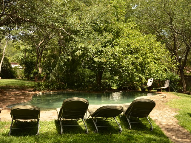 The pool area at Lorries B & B in Victoria Falls, Zimbabwe
