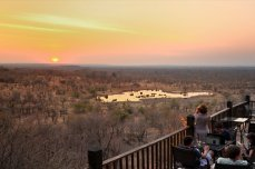 The view of the waterhole at Victoria Falls Safari Lodge - Victoria Falls, Zimbabwe