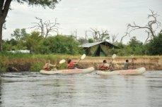 Canoeing on the upper Zambezi River near Victoria Falls, Zimbabwe