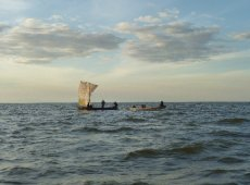 Fishing boats on Lake Mweru, Zambia