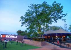 The extertior part of The Three Monkeys Restaurant n Victoria Falls, Zimbabwe