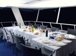 Open-air dining area on the Catalina Houseboat - Kariba